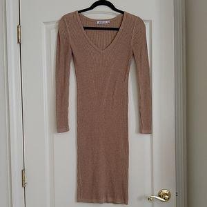 JustFab Vneck Midi Sweater Dress, Small